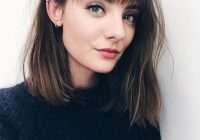 blunt lob with bangs hair styles bangs with medium hair Short Blunt Haircuts With Bangs Inspirations